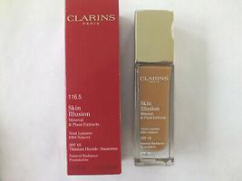 Clarins Skin Illusion Natural Radiance Foun. 116.5 Coffee Spf 10 - Fs - New - $12.86