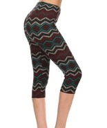 Leggings: Capri Super Soft One Size 2-14 Tribal Multi Mid Calf Length - $8.87