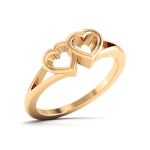 Solid 18k Yellow Gold Promise Ring Engagement Ring Dual Heart Wedding Ri... - $529.99