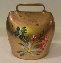 Vintage Hand Painted Brass Cow Dinner Bell Flowers - $23.05