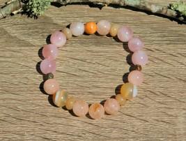 Pink Morganite Gemstone Bracelet Size 7 Inch with Rose Quartz and Botswa... - $35.00
