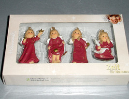 Goebel Angel Relief Ornaments Bordeaux Set of 4 #828142 New Boxed - $18.99