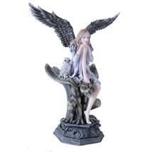 Garden Fairy Dark Angel With Gargoyle Figurine Handpainted Resin - $55.43
