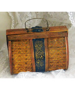 """Vintage Wood and Metal Purse 5"""" High x 6 1/8"""" Wide x 4"""" Deep at Base - $37.39"""