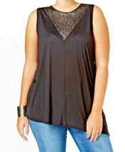 Top  3X Plus Rachel Roy NWT  Black Lace Inset Blouse Sleeveless TM486 - $23.00