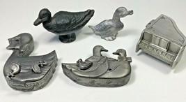 Torino Pewter Jewelry Sets Brooch Necklace Earrings Ducks Miniature Figu... - $29.69