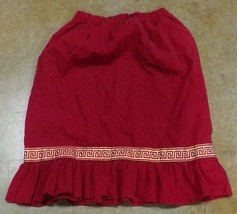 "Native American Red Black Print Girls Greek Key Gold Ribbon Skirt 19""+W - $19.99"