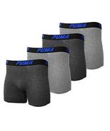 PUMA Men's 4 Pack Cotton Blend Classic Boxer Briefs (Dark Grey/Grey/Blue... - $35.14