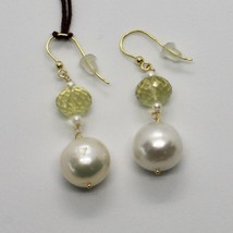 SOLID 18K YELLOW GOLD EARRINGS WITH WHITE PEARL AND LEMON QUARTZ MADE IN ITALY image 2