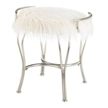 Silver Vanity Stool with White Faux Fur Cushion - $96.95