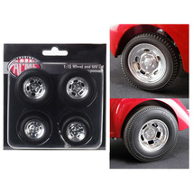 Polished Drag Wheels and Tires 4 pcs Set from 1941 Gasser 1/18 by Acme A... - $28.04