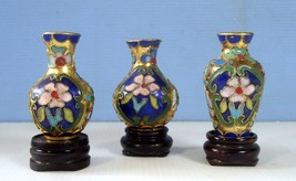 Vintage cloisonne mini vases set of 3 hand crafted painted circa mid 1900s - $29.60