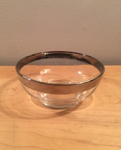"""Vintage 60s MCM Silver Ombre rimmed 4.75"""" small glass bowl image 1"""