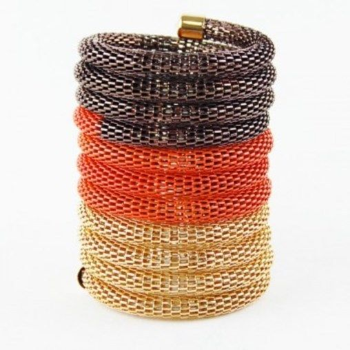 Primary image for NEW 3.75 Inch Wide Orange Brown Gold Mesh Tri-Tone Stretch Bracelet Statement