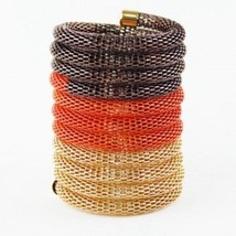 NEW 3.75 Inch Wide Orange Brown Gold Mesh Tri-Tone Stretch Bracelet Stat... - $11.19