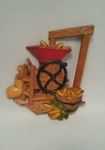 VINTAGE HOMCO HOME INTERIORS KITCHEN WALL PLAQUE CORN SHELLER METAL 1978 - $9.89