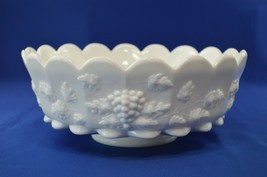 "Westmoreland Paneled Grape Milk Glass Center Piece Bowl 10 3/4"" Top Diameter - $44.55"