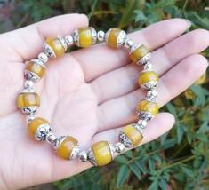 Nice Tibetan 12X10mm 925 Silver Repousse Beeswax Amber Beads Beaded Brac... - $22.45