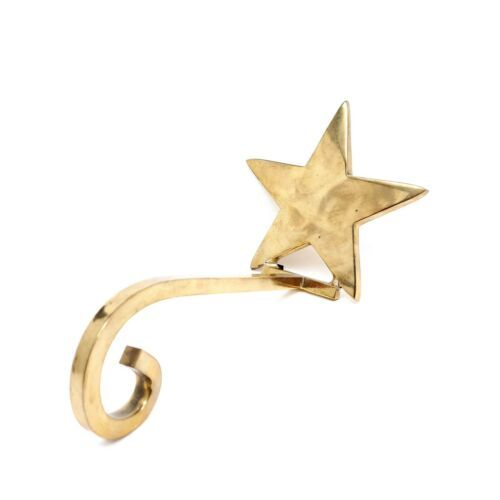 Primary image for Vintage Solid Brass Star Long Arm Hook Stocking Holder Mantel Shelf Hanger Xmas