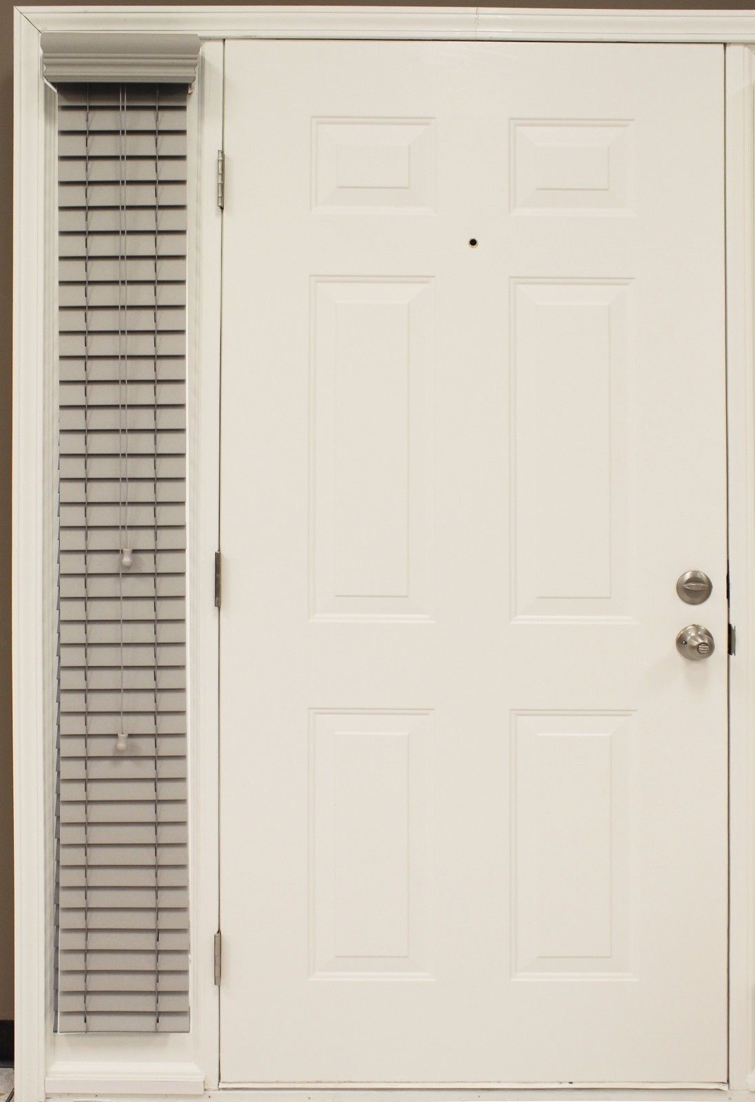 """Custom-made, 2"""" Pebble - gray Faux Wood Single SIDELIGHT Blind for Side of Door for sale  USA"""