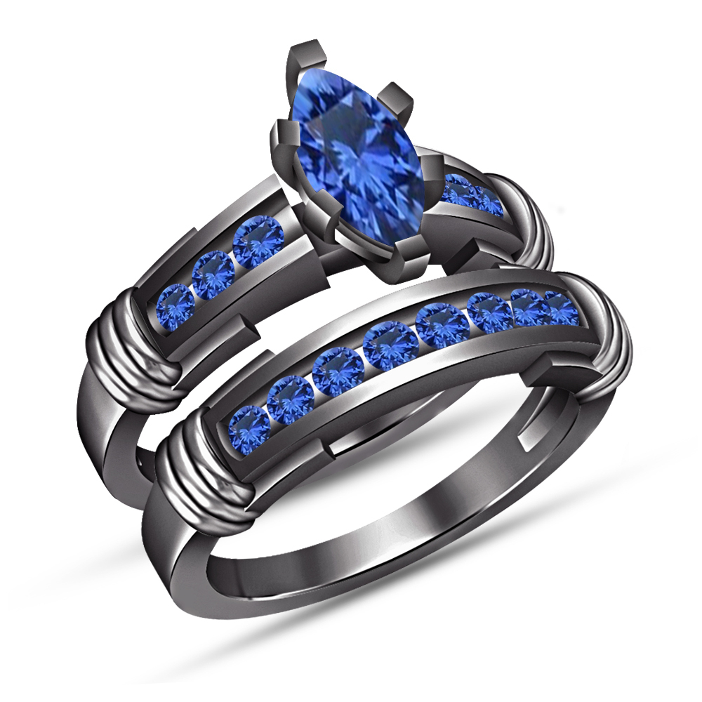 Marquise Sapphire Bridal Set Anniversary Ring 14k Black Gold Finish 925 Silver