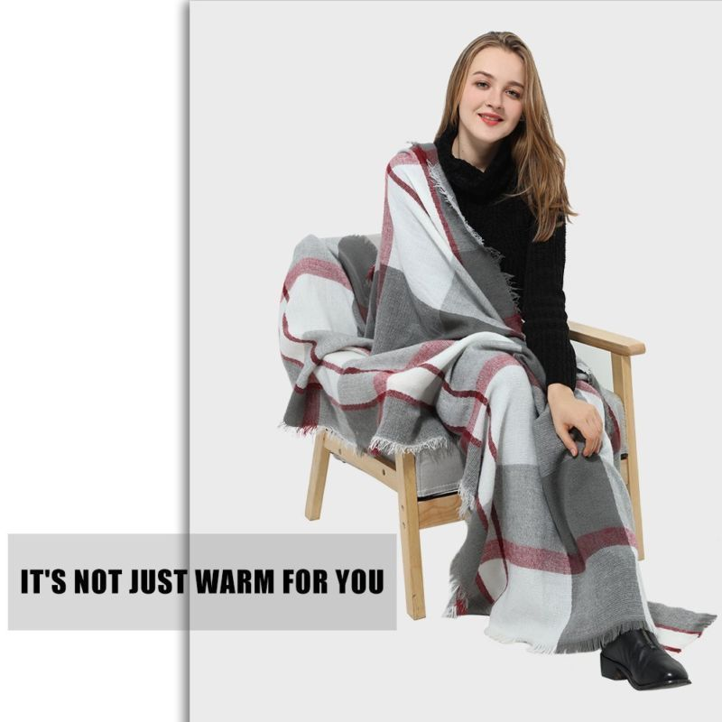 Women Blanket Warm Soft Scarf Plaid Pashmina Winter Wrap Shawl Gifts Gray Red