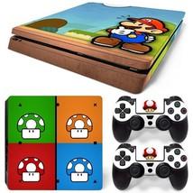 Super Mario Bros PS4 Slim Console & 2 Controllers Decal Vinyl Art Skin Sticker - $15.81