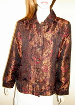 ADDITIONS by CHICO'S Ornate Eggplant Brown/Bronze Brocade Shirt Jacket (... - $29.30