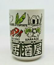 Japanese Porcelain Yunomi Tea Cup Izakaya Foods Menu in Nihongo Romaji J... - $27.51