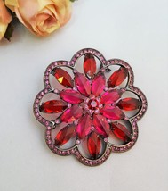 Vintage Red and Pink Crystal Brooch Brass Plated  - $9.50