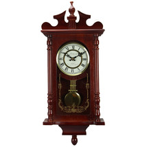 Bedford Collection Redwood Finish 25 Wall Clock with Pendulum and Chime - $131.42