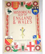 """HISTORICAL MAP OF ENGLAND & WALES with clan crests by L. G. Bullock, 27""""... - $49.49"""
