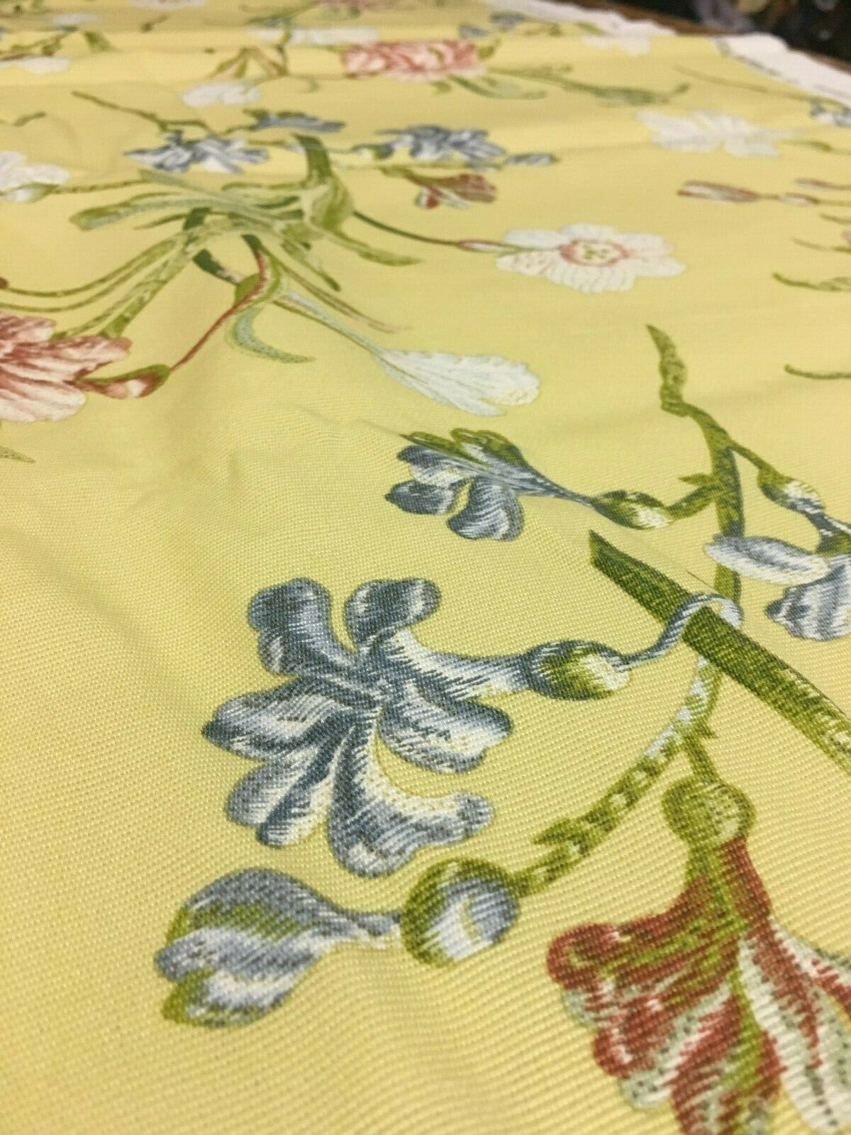 Schumacher Greeff Yellow Floral Print Upholstery Drapery Fabric 4.5 yards