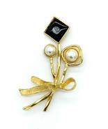 Vintage Nolan Miller Attributed Big Gold Tone Floral Faux Pearl Paste Pi... - $74.69