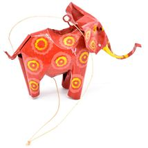 Handcrafted Painted Colorful Recycled Aluminum Tin Can Elephant Ornament image 4