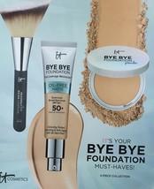 New IT Cosmetics Bye Bye Foundation 3 Piece Collection Powder Moisturizer Brush - $74.20