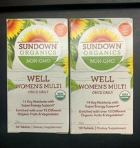 2x Sundown Organics Non-GMO Well Women's Multivitamin 30 Tablets Each Ex... - $15.83