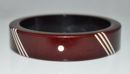 VTG Lucite Acrylic Brown White Carved Stripe Dot Bangle Bracelet - $29.70