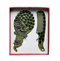 Exquisite Retro Portable Cosmetic Mirror and Comb Set, Green Peacock