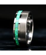 Green Opal Ring Tungsten Wedding Band - $95.99