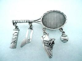 Vintage JJ Jonette Pewter Tennis Racquet Charm Pin Brooch - $12.00