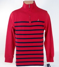 Nautica 1/4 Zip Mock Neck Red & Blue Cotton Sweater Youth Boys NWT - $37.49