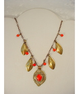 Necklace with old Afghan jewelry elements and coral beads - $65.00
