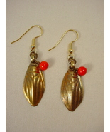 Brass Earrings with Old Afghan Jewelry Elements, Red Coral - $20.00