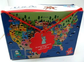 USA Map Floor Puzzle 24 Pc Mudpuppy Huge Pieces 24x36 COMPLETE Big Age 3+ EUC - $14.84