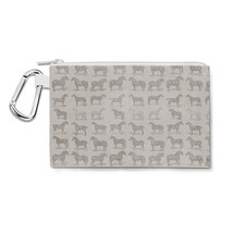 Vintage Horses Pattern on Grey Canvas Zip Pouch - $15.99+