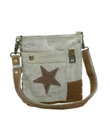 Leather Star Recycled Khaki Canvas Cross Body Bag-Medium Size-Lots of Po... - $34.95