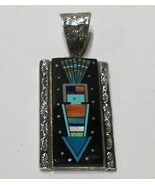 Inlay Pendant with Yei Design, Sterling Silver, Native American, New - $240.00