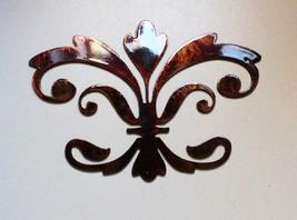 "Ornamental Fleur de Lis Copper/Bronze Metal Wall Decor 8"" wide x 5 1/2"" ... - $9.99"