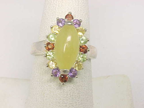 Colorful Genuine Multi-Gemstones RING in Sterling Silver - Size 7 1/4 - Signed